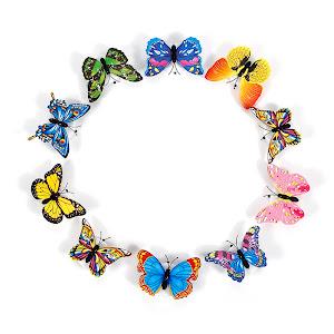Set 10 fluturi magnetici, decoratiune cu lumina LED