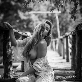 on the wooden bridge by Reto Heiz - Nudes & Boudoir Artistic Nude ( nudart, female nude, sensual, sexy, nude, black and white )