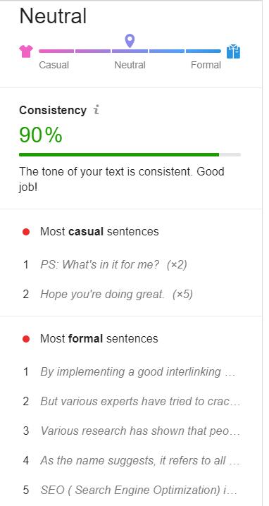This shows you how consistent your tone is and will also show you most casual and most formal sentences that you should get rid off- content writing for beginners
