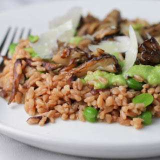 Farrotto with Fava Beans and Mushrooms