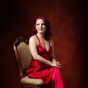 Muse by Claude Lupien - People Portraits of Women ( studio, glamour, red, red hair, portraits of women, red dress )