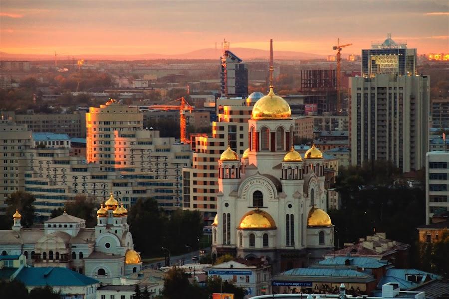 Sunset in Ekaterinburg by Tomasz Budziak - City,  Street & Park  Historic Districts ( historic district, russia, city, sunset )