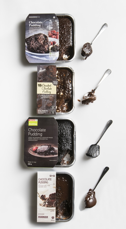 From top: baked chocolate pudding from Woolworths, Checkers, SPAR Freshline and Pick n Pay.