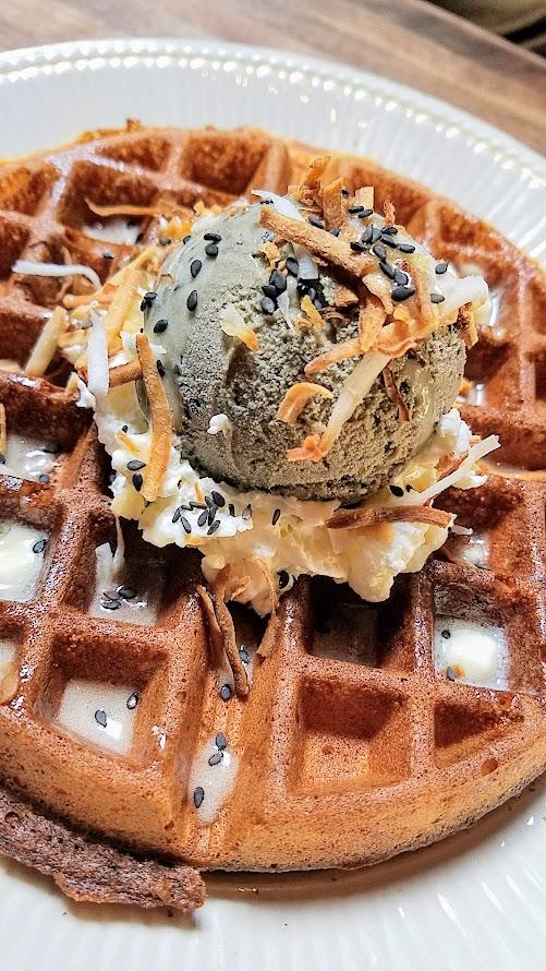 Expatriate Brunch, Rice Waffle with Black Sesame Ice Cream</strong> made with heirloom carolina rice flour, coconut glaze, local honey
