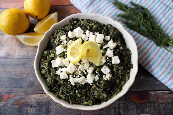 A Bowl Of Greek Spinach & Rice Spanakorizo.