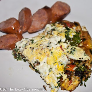 Spinach, Arugula & Roasted Red Pepper Omelet.
