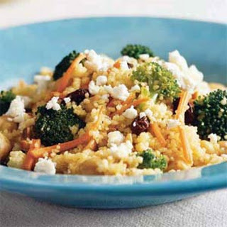 Curried Couscous with Broccoli and Feta.