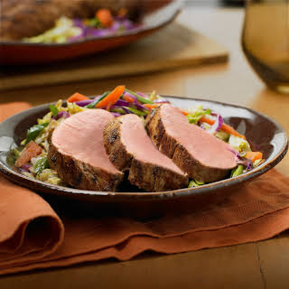 Grilled Orange-Ponzu Pork Tenderloin with Napa Cabbage & Carrot Stir-Fry.