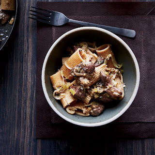 Spelt Rigatoni with Chicken Livers, Leeks and Sage.