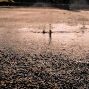 Rain Drop by João Pedro Ferreira Simões - Abstract Water Drops & Splashes ( water, asphalt, drop, ground, road, rain )