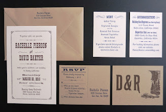 "Photo: Rachelle and David went with an ""Old West"" look for their invitations. The reply and menu/accommodations cards were printed on both sides. Close-ups follow."