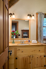 Photo: Interior, vertical, upper level bathroom vanity, Giles residence, Dandridge, Tennessee; Hearthstone Homes
