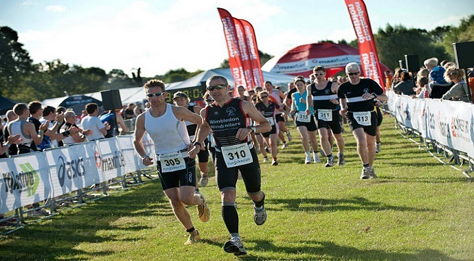 Runners taking part in a Duathlon event