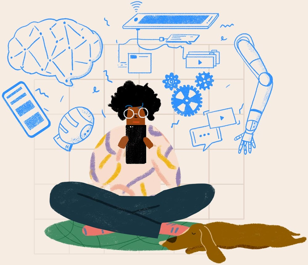 A woman and dog sat under a cloud of devices and typical AI imagery, denoting that AI is not always easy to understand.