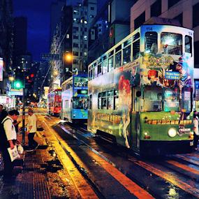 Rainy Hong Kong by Wah Yuen Lau - City,  Street & Park  Night ( hong kong, nighttime in the city, night life, park at night, street at night, city at night, nightlife )