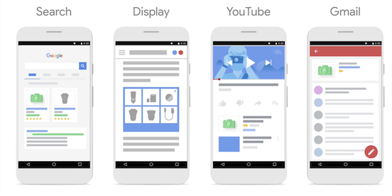 Cartoon of 4 phones showing stylized versions of ads serving on search, display, YouTube, and Gmail.
