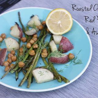 Roasted Chickpeas, Red Potatoes, and Asparagus