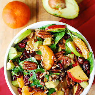 Apple Cranberry Spinach Salad with Pecans, Avocados (and Balsamic Vinaigrette Dressing).