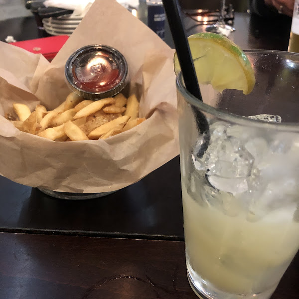 Fries and margartiaville cocktail