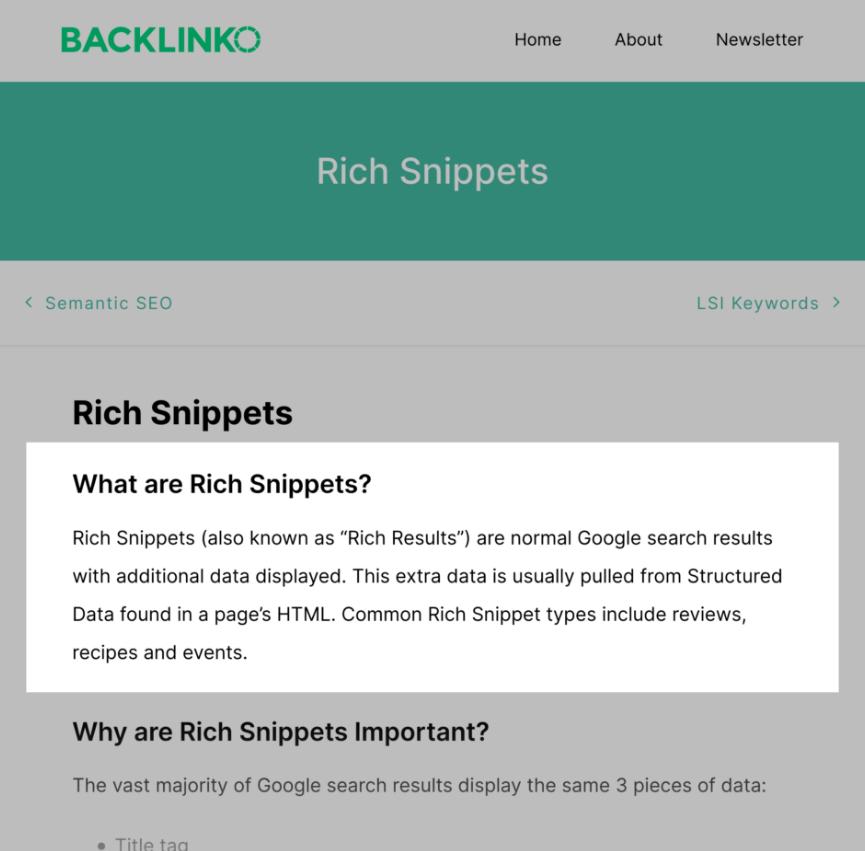 Раздел для Rich Snippets