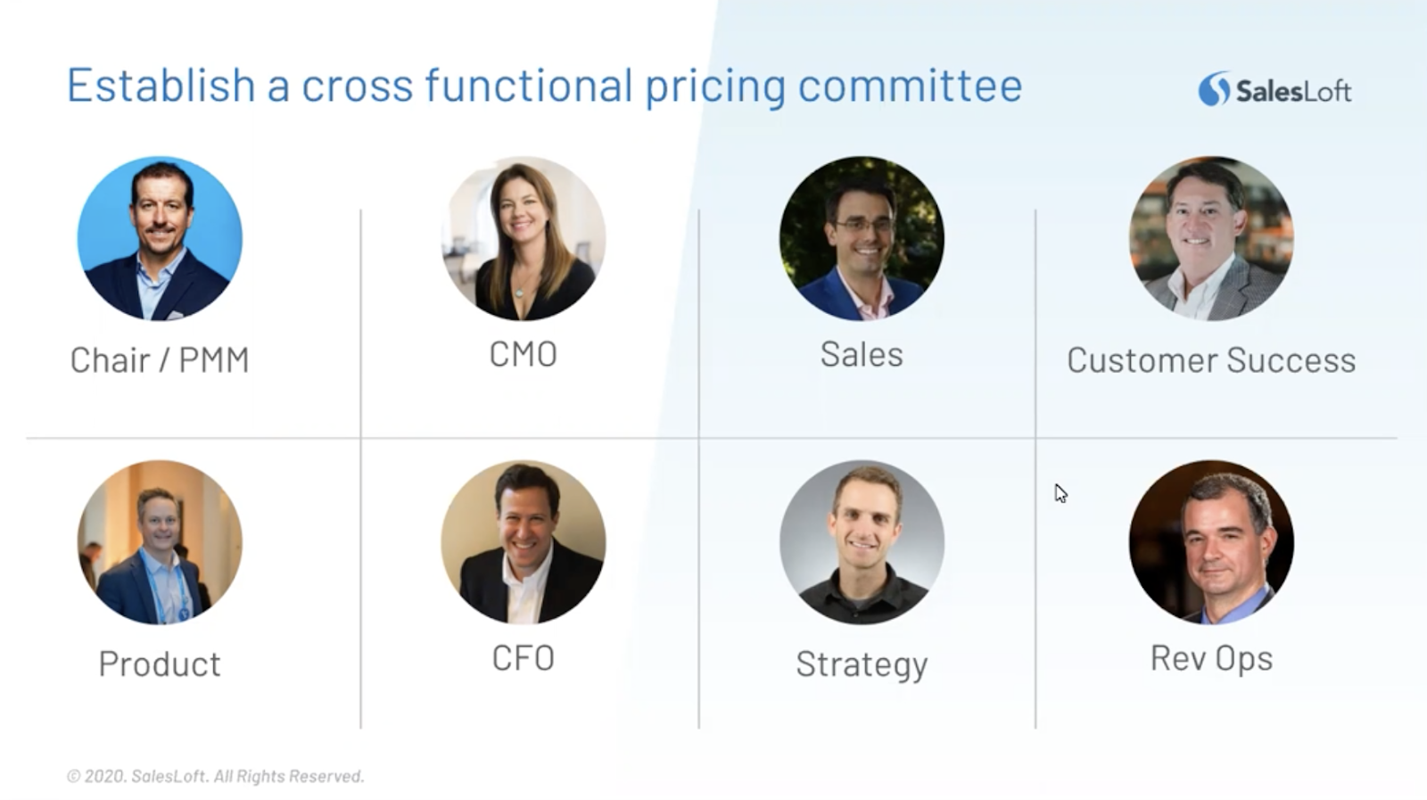 Establish a cross functional pricing committee.