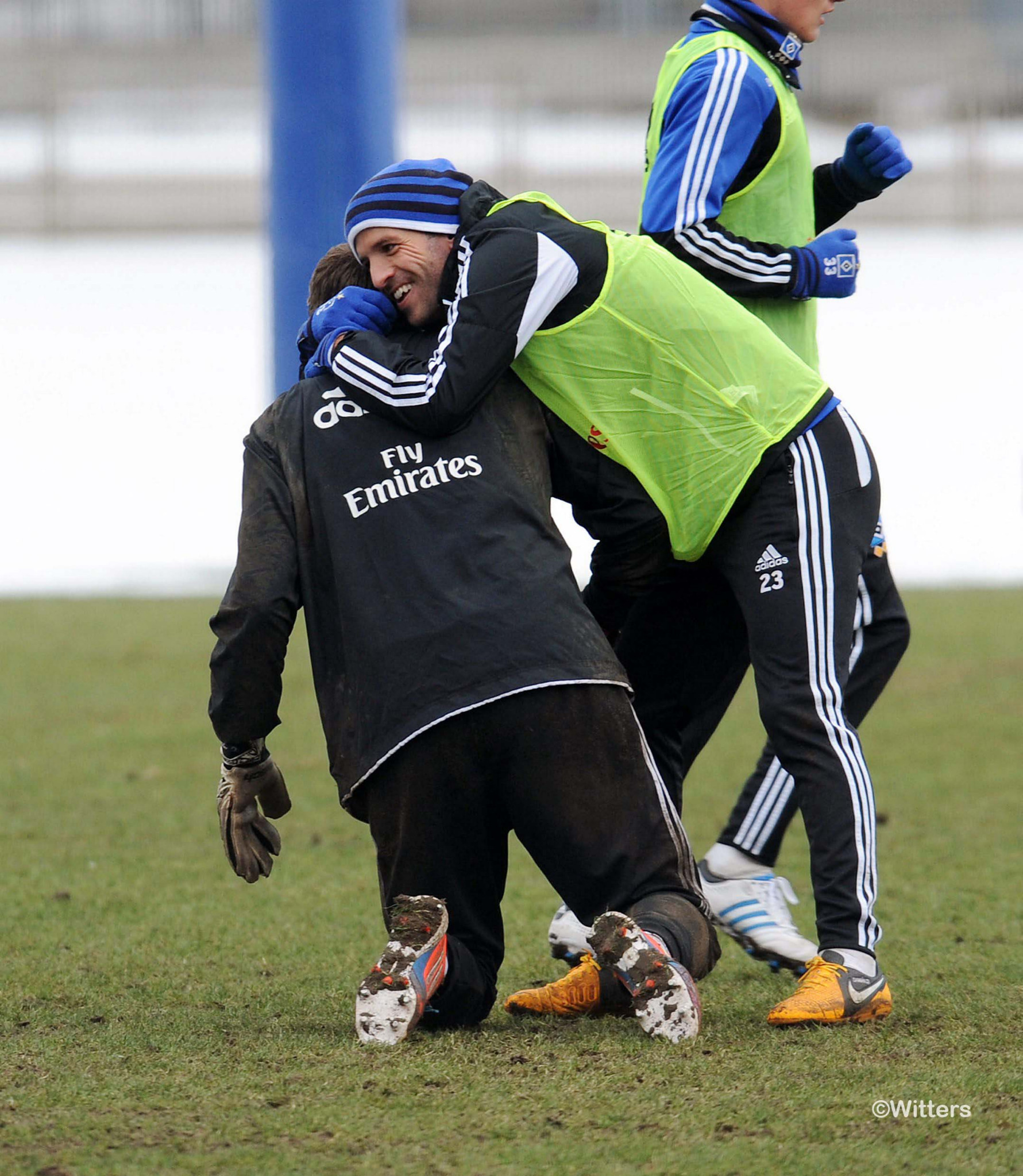 Photo: v.l. Torwart Jaroslav Drobny, Rafael van der VaartFussball, Hamburger SV, Training