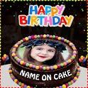 Happy Birthday Photo frame with Name Photo on Cake icon
