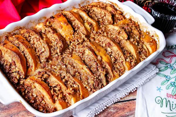 A Dish Of Christmas Morning French Toast Ready To Be Served.