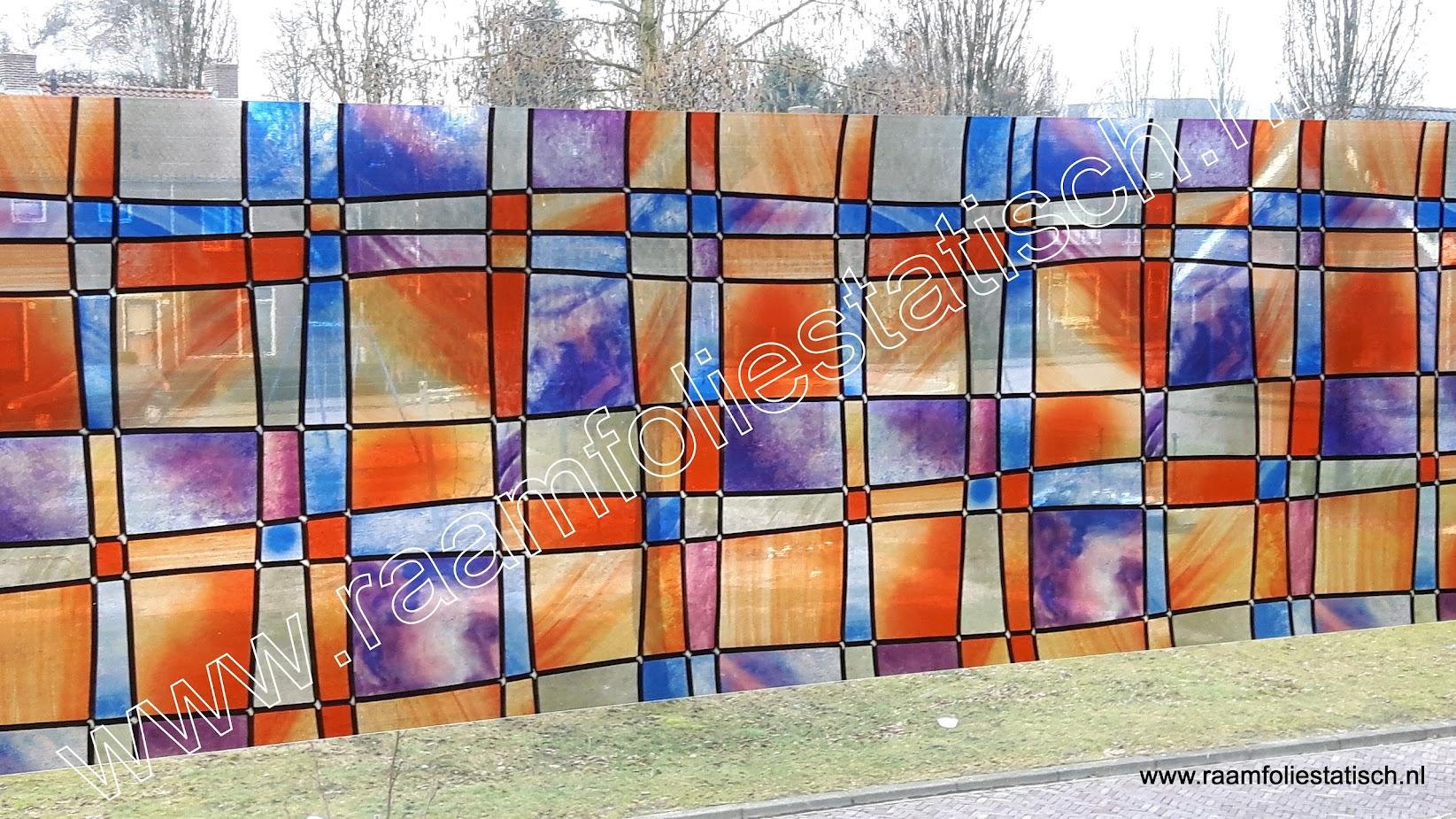 Raamfolie statische glas in lood kleuren 67,5cm