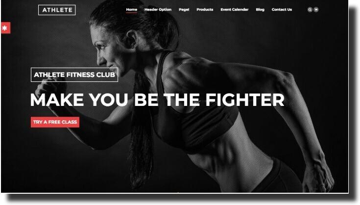 The Athlete fitness website design