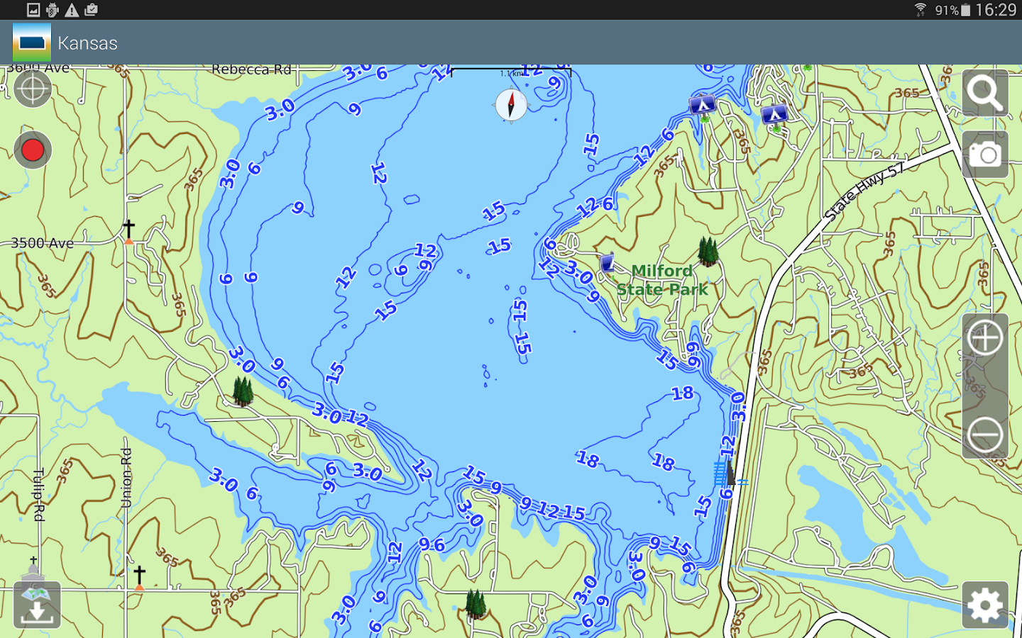 Aqua Map Kansas Lakes GPS- screenshot