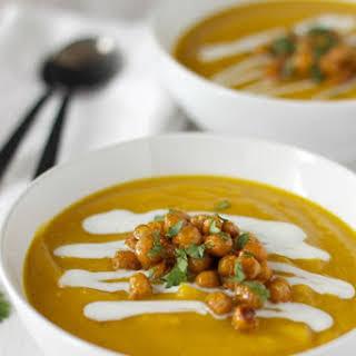 Butternut Squash Red Lentil Soup with Honey Curry Roasted Chickpeas and Coconut Cream.