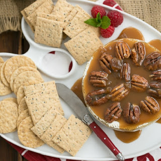 Baked Camembert with Caramel and Pecans.
