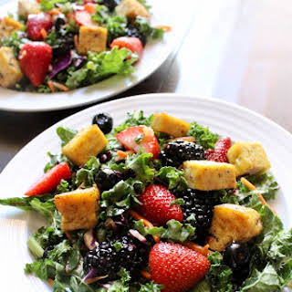 Summer Berry Salad with Herbed Tofu Croutons.