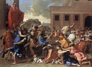 """Photo: Poussin - Première version du tableau de Poussin - """"L'enlèvement des Sabines"""", vers 1635 (New York, Metropolitan Museum of Art)"""