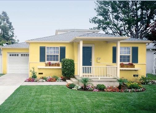 cat warna kuning untuk rumah minimalis tampak depan