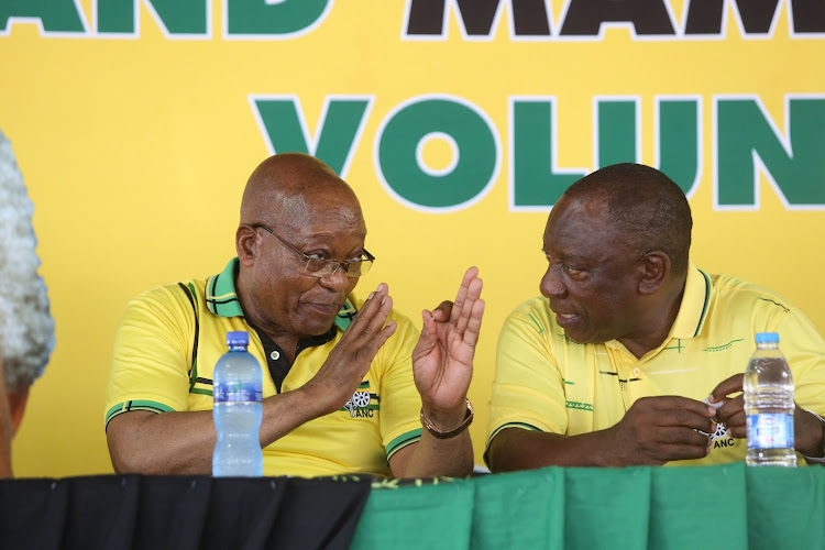 Former president Jacob Zuma and President Cyril Ramaphosa at the ANC's January 8 celebrations at the JL Dube stadium in Inanda on January 8 2019