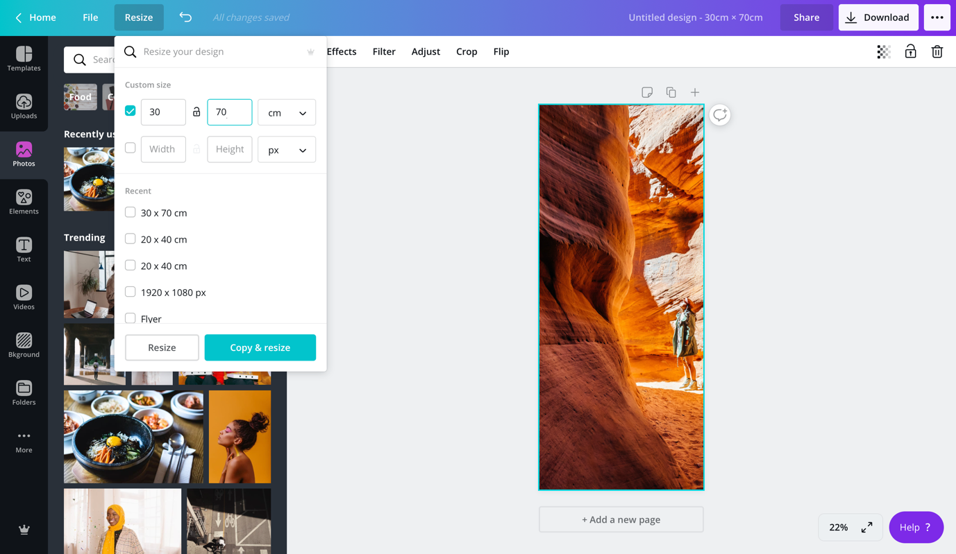 custom size in Canva of image