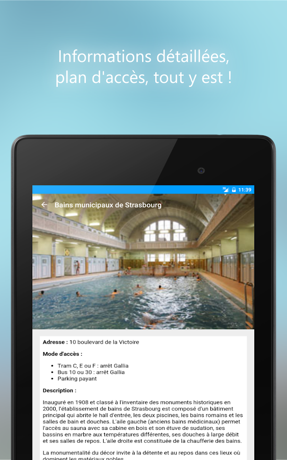 Stras 39 pool horaires piscines android apps on google play for Club piscine pompaples horaire