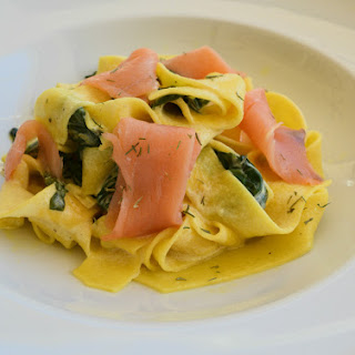 Pappardelle with Smoked Salmon and Spinach in Lemon Cream Sauce Recipe