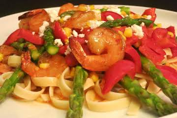 Spicy Grilled Shrimp and Asparagus Fettuccine
