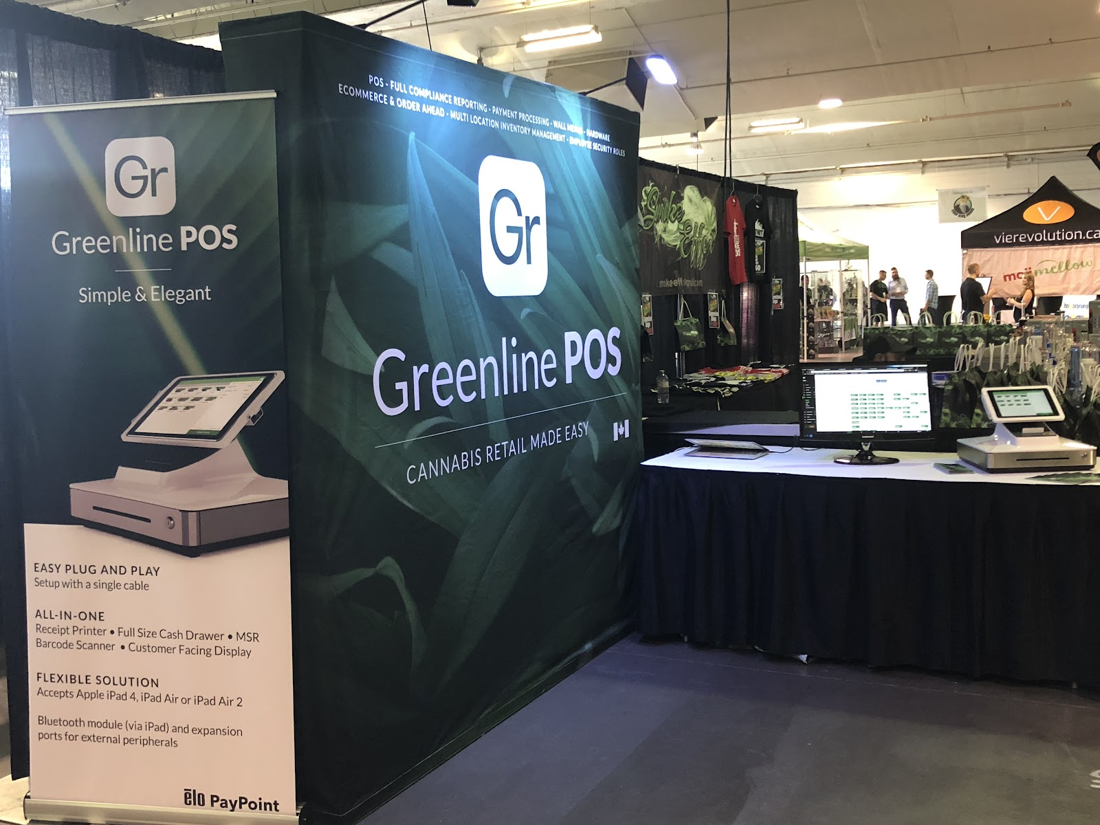 Greenline Cannabis POS on display at an expo.