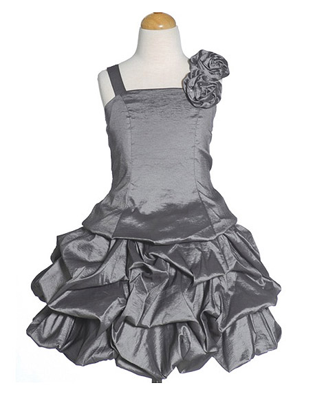 Photo: Fun Fun Girls #Charcoal #Gray Party #Dress: This fun fun girls charcoal gray party dress is a absolute necessity when it comes to your little girls special occasion wardrobe. Let your little girl shine in this sensational light weight taffeta dress featuring a strapless bodice and cute bubble skirt and double floral accent with tiny sparkles. Be sure to put the finishing touches on this charcoal gray party dress with a necklace or headband.