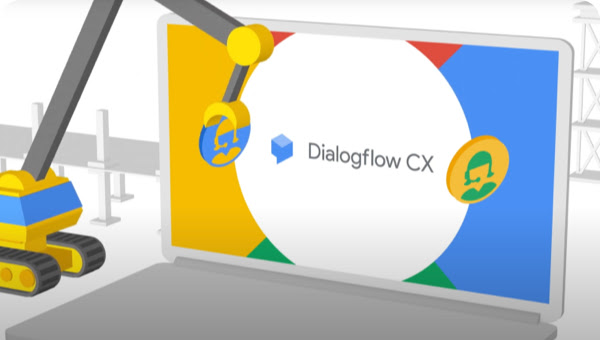Dialogflow CS logo on a laptop screen