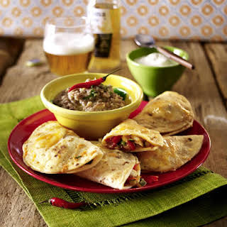 Chicken Quesadillas with Refried Beans.