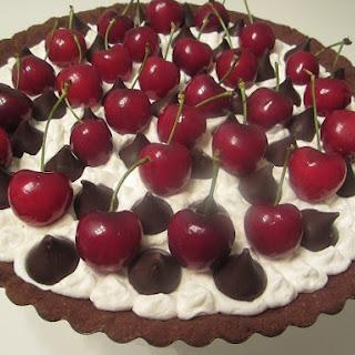 Chocolate Cream Pie with Fresh Cherries