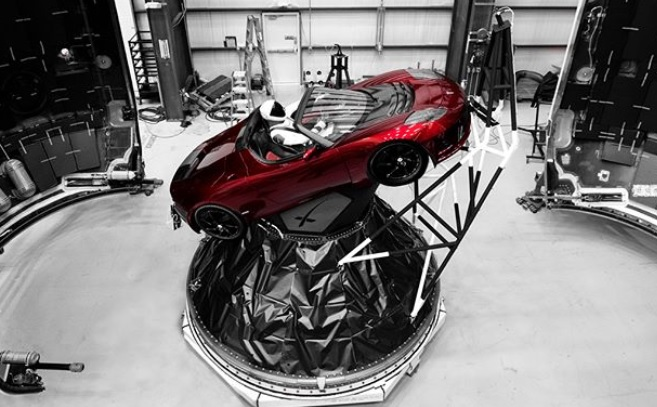 'Starman' in his red Tesla roadster ready to be launched into space.
