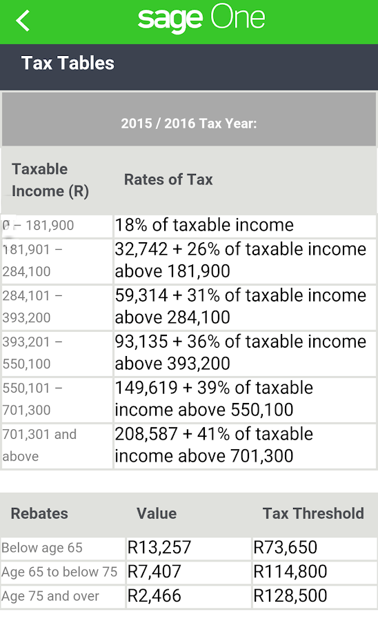 Sage One Tax Calculator- screenshot