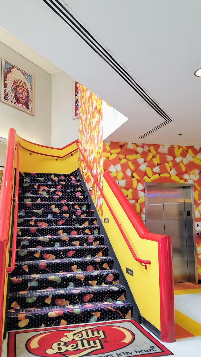 Jelly Belly Factory Tour in Fairfield, California - stairway leading to factory tour area