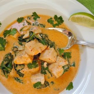 Thai-Curry Fish with Baby Spinach